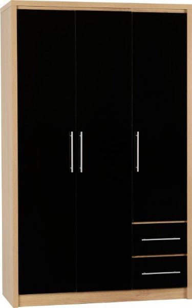 Seville 3 Door 2 Drawer Wardrobe BLACK